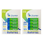 8 x Starmo AA MN1500 1200mAh HR6/1.2V Rechargeable Batteries