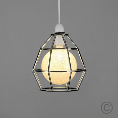 Modern Angus Open Cage LED Ceiling Pendant Shade Chrome & Sparkle Globe Bulb