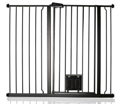 Bettacare Gate with Lockable Cat Flap Matt Black 113.8cm - 121.4cm