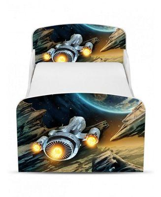 PriceRightHome Spaceship Toddler Storage Bed & Deluxe Foam Mattress