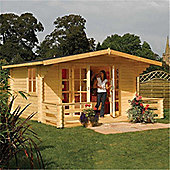 5m x 4m (16ft x 15ft) Apex Chalet Log Cabin Garden Cabin