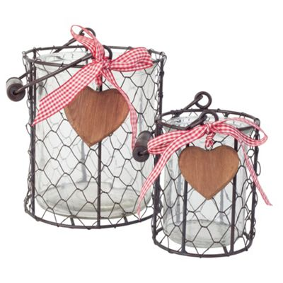 Set of 2 Country Style Metal Wire & Glass Tealight Candle Holders