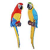 Kiwi & Tiki the Wall Mountable 45cm Coloured Macaw Parrot Garden Ornament Pair