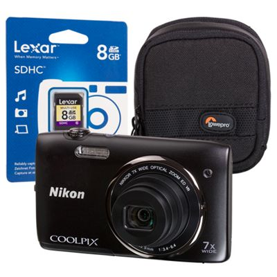 Nikon Coolpix S3500 Black Camera Kit inc 8GB SD Card and Case