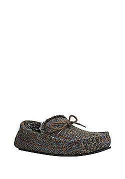 F&F Herringbone Harris Tweed Moccasin Slippers - Brown