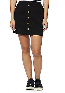 F&F Twill Button-Through Skirt - Black