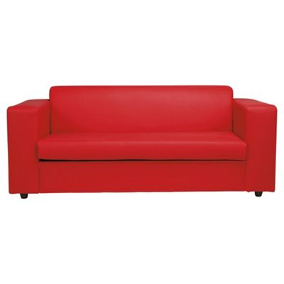Stanza 2 Seater Faux Leather Sofa Bed, Red