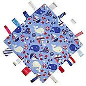 Dotty Fish Baby Tag Blanket - Nautical Sail Boats