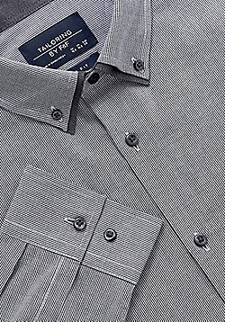 F&F Houndstooth Double Collar Slim Fit Shirt - Grey