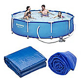 Bestway 10 Ft Steel Pro Frame Pool, Ground Mat & Solar Cover