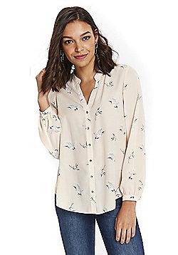 Wallis Petite Bird Print Shirt - Pale pink