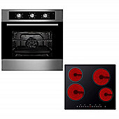 Oven & Hob Pack COF600SS CET600 | Cookology 60cm Built-in Electric Fan Oven & Touch Control Ceramic Hob Pack
