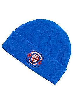 Embroidered Unisex School Fleece Beanie - Royal blue