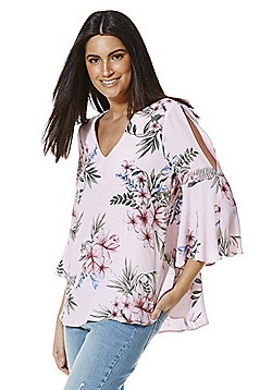 F&F Floral Print Flute Sleeve Top - Pink
