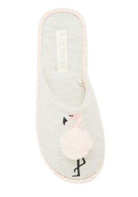 F&F Flamingo Pom Pom Mule Slippers Grey Adult 5-6