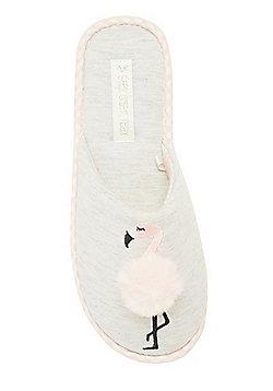 F&F Flamingo Pom Pom Mule Slippers - Grey