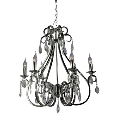 Elegant Swirl Chrome Chandelier - 6 Arm