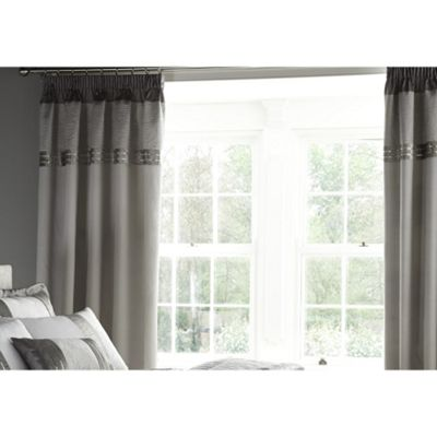 Catherine Lansfield Silver Gatsby Curtains - 66x72 Inches (168x183cm)