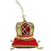 Red & Gold Fabric Crown on Plush Pillow Christmas Tree Decoration