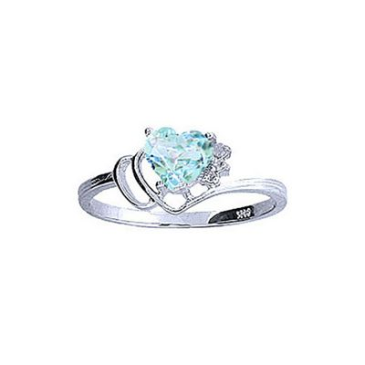 QP Jewellers Diamond & Aquamarine Passion Heart Ring in 14K White Gold - Size A