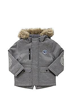 F&F Faux Fur Trim Textured Parka - Grey