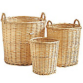 VonHaus 3 Piece Natural Wicker Storage Laundry Basket & Waste Paper Bin Set