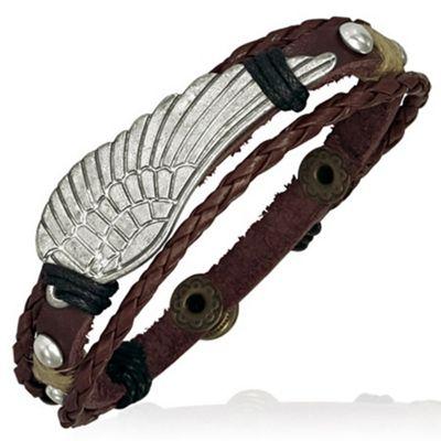 Men's Brown Leather & Metal Angel's Wing Bracelet by Urban Male