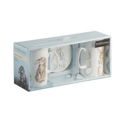 Price & Kensington Set of 2 Country Bunny Mugs and Coasters Gift Boxed
