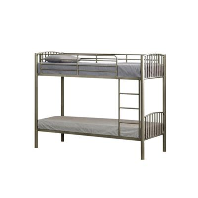 Comfy Living 3ft Single Children's Slatted Metal Bunk Bed in Silver with 2 Sprung Mattresses