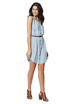 F&F Tencel® Sleeveless Denim-Look Dress with Belt - Light wash