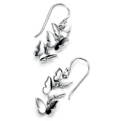 Sterling Silver Triple Butterfly Drop Earrings