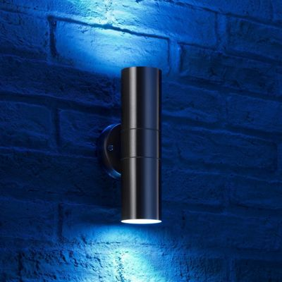 Auraglow Deep Recessed Stainless Steel RF Remote Control Colour Changing LED Double Up & Down Outdoor Wall Light