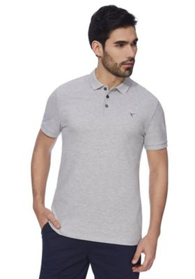 F&F Pique Short Sleeve Polo Shirt with As New Technology Grey Marl 3XL