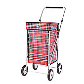 Sabichi 4 Wheel 60L Shopping trolley, Hamish Red Check