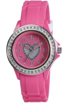 Tikkers Pink Diamonte Bezel Heart Watch