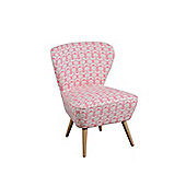 Delilah Coral Retro Occasional Chair with Natural Oak Legs