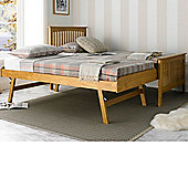 Happy Beds Toronto Oak Wooden Guest Bed and Trundle 2 Memory Foam Mattresses 3ft Single