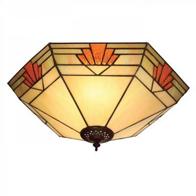 Flush Light - Tiffany style glass & dark bronze paint with highlights