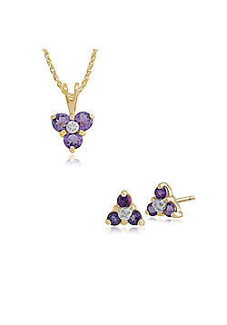Gemondo 9ct Yellow Gold Amethyst & Diamond Classic Cluster Stud Earring & 45cm Necklace Set