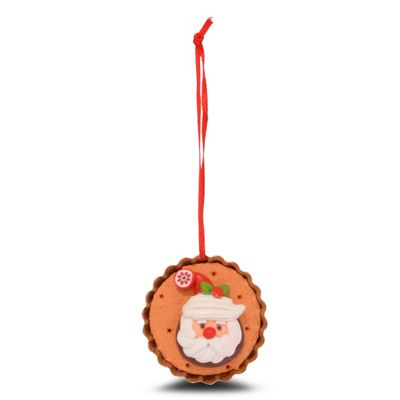 Hanging Gingerbread Muffin Christmas Tree Decoration with Father Christmas Design