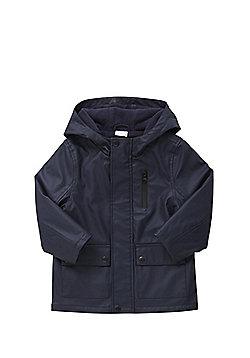 F&F PU Fleece Lined Mac - Blue