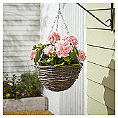 Foliage Artificial Pink Geranium Hanging Basket