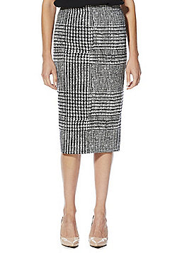 F&F Houndstooth Jersey Pencil Skirt - Black
