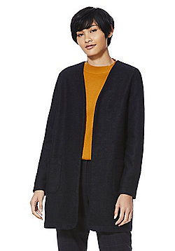 F&F Collarless Boucle Jacket - Navy