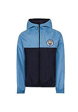Manchester City FC Boys Shower Jacket - Blue