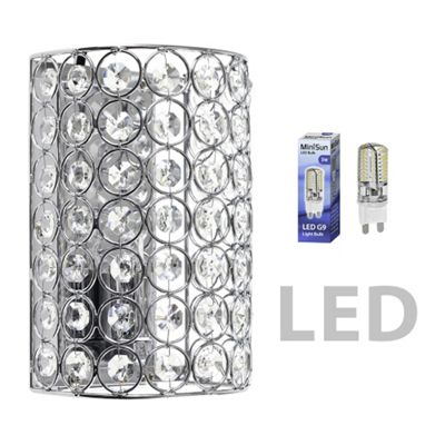 Ducy Half Cylinder LED Wall Light, Chrome & Clear Acrylic Jewels