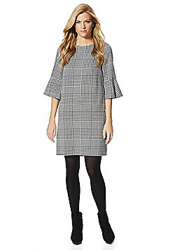 F&F Dogtooth Bell Sleeve Dress - Black & White