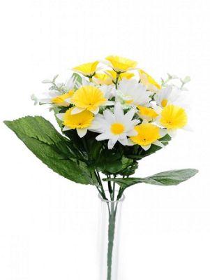 Artificial - Flora Daffodil / Daisy Bush - White/Yellow