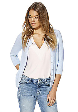 F&F 3/4 Length Sleeve Stretch Cardigan with As New Technology - Pastel blue