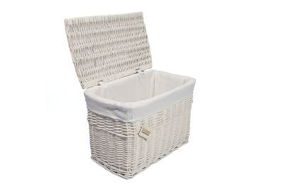 Woodluv White Wicker Storage Trunks Chest Basket, Medium